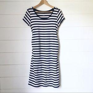 LIZ LANGE Striped Short Sleeve Dress